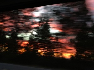 birthday sunset - car window