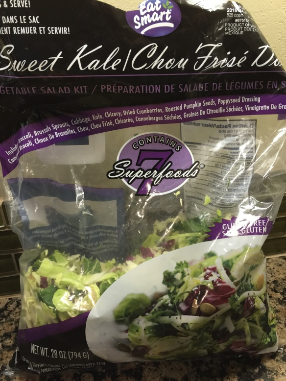 Our favorite bag salad - Costco's Superfood Salad has kale, broccoli, brussel sprouts, cabbage, chicory, dried cranberrries, pumpkin seeds, &  poppyseed dressing