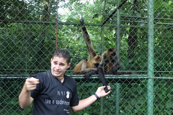 Carlos & spider monkeys at Proyeto Asis